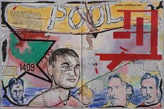 """Jack Balas, 2016; POOL  watercolor, acrylic & ink on paper, 30"""" x 45"""" overall. See website image for text/ story."""