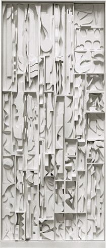 Louise Nevelson ~ White Vertical Water, 1972 (painted wood)