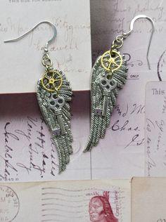 Steampunk Earrings - Angel Wings, Vintage Watch Gears, Skeleton Keys by TrinketsThroughTime on Etsy