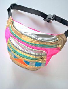 cb9b49e6b9 90 s child WATERPROOF bumbag fanny pack PINK GOLD and silver reflective bag.  metal ykk zips