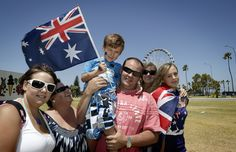 Australian people supporting their country.