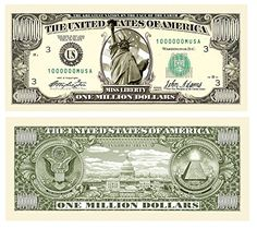 Set of 50 - Traditional Million Dollar Bill * This is an Amazon Affiliate link. You can get more details by clicking on the image.