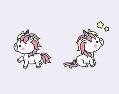 Premium Vector Clipart  Kawaii Unicorns  by LookLookPrettyPaper