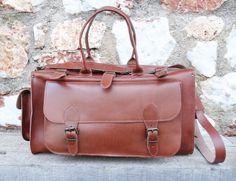 Apollo Travel Bag / Twininas Genuine Greek Leather Bag / Tobacco Color Leather / Adjustable Shoulder Carry / Large Weekender Duffel Bag Duffel Bag, Weekender, Apollo Travel, Handmade Jewellery, Ss 15, Leather Bags, Travel Bag, Greek, Satchel