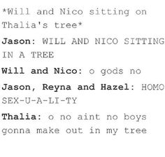 funny, hazel levesque, jason grace, lol, nico di angelo - image #5125872 by winterkiss on Favim.com