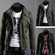 New Men's Military Slim Line Jacket Coat Rider Zip Button Hoody Top XS S M L