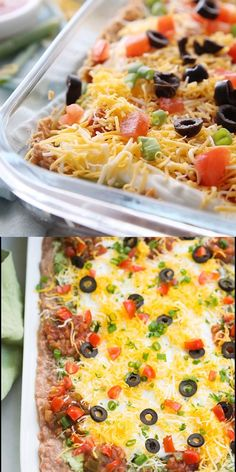 Everyone loves this easy Mexican bean dip that has layers of flavored refried beans, guacamole, sour cream, salsa, cheese, olives and green onion.