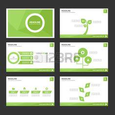 Leaf Green Multipurpose Infographic elementen en het pictogram presentatiesjabloon plat ontwerp set  Stockfoto