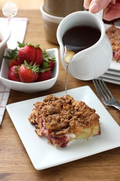 Strawberries and Cream French Toast Bake l www.a-kitchen-addiction.com