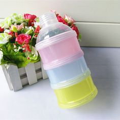 1PCS Portable Baby food storage Milk Powder Container Three milk box baby removable tiered box baby Bottle Container grid leak