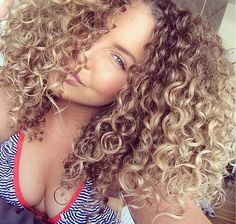Pretty brown blonde big curly hair