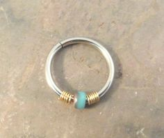 Turquoise and Gold Cartilage Hoop Earring Septum by MidnightsMojo, $5.00