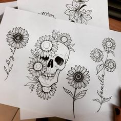 A flor que segue o sol, em várias versões pra tatuar 😏🌻 #girassol #girassoltattoo #sunflowertattoo #sunflower #skullflower #skulltattoo… Dark Art Drawings, Outline Drawings, Art Drawings Sketches, Easy Drawings, Tattoo Drawings, Skull Thigh Tattoos, Evil Skull Tattoo, Body Art Tattoos, Tatoos
