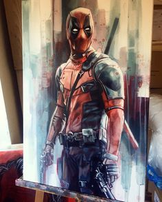 "NEW 'Deadpool' 20""x30"" original oil and acrylic on canvas. Available at my exhibition @montaguesgallery #deadpool #marvel # #deadpoolart #art #artist #oil #acrylic #art #painting #canvas #paint #pencil #artsy #beautiful #instagood #gallery #creative #photooftheday #graphic #graphics #artoftheday"