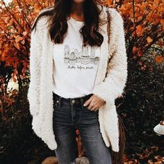 c144de1565 Cozy white cardigan over white tee and charcoal jeans. Fashion 101