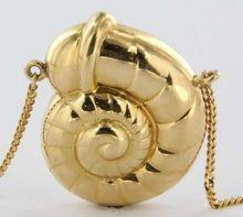 Vintage 14 Karat Yellow Gold Snail Shell Pendant Necklace Estate Fine Jewelry