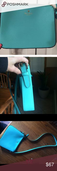 """Kate spade cross body bag Teal/almost Tiffany blue cross body purse. Cross hatch textured leather. Gold hardware. Only worn once. Measures approx 8"""" Hx10""""W X1.5""""D. Bag hangs approx 23"""" amazing condition. Bag is a beautiful almost Tiffany blue color. The first pic is the closest to the actual color. kate spade Bags Crossbody Bags"""