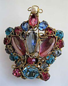 Vintage Robert Original Crown Brooch Glass, Wirework, Rhinstones, signed by GemParlor on Etsy