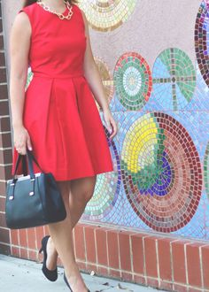 jackie o inspired work outfit, work outfit, jackie o inspired, work wednesday, how 2 wear it, morgan flinchum, fendi dupe purse, nordstrom, fit and flare dress, how to style a fit and flare dress, red dress for work, gold accessories, summer work outfit