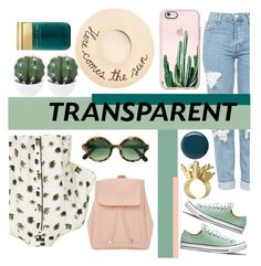 """""""Transparent Cactus"""" by feministblue ❤ liked on Polyvore featuring Topshop, Cutler and Gross, New Look, Casetify, Eugenia Kim, Balmain and Marc Jacobs"""