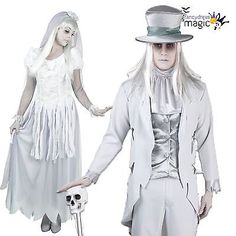 Ladies mens couples halloween white #ghost bride groom fancy #dress #costume outf,  View more on the LINK: http://www.zeppy.io/product/gb/2/351807411371/