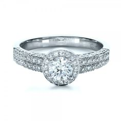 JOSEPH JEWELRY BELLEVUE WA Custom Halo Micro-Pave Diamond Engagement Ring $3512