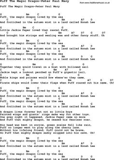Summer-Camp Song, Puff The Magic Dragon-Peter Paul Mary, with lyrics ...