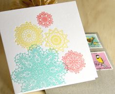Spring, Easter Letterpress pastel card in turquoise blue - mint green, sunshine yellow and peach - coral pink  made in Australia. $6.00, via Etsy.