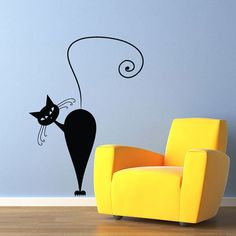Vinyl Wall Decal Sticker Art  Curious Pussy by wordybirdstudios, $22.95