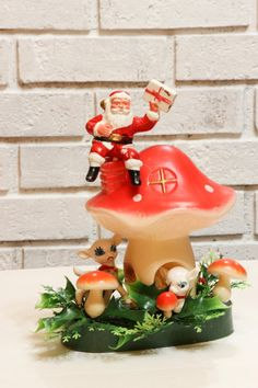 Vintage Christmas Blow Mold Decor Santa with Deer on by CabinOn6th
