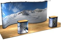 Messina 20 Foot Premium Wave graphic pop-up displays set up quickly and easily, and are perfect for making a good impression. Our 20 Foot Messina pop-ups are made in the USA and come with a limited warranty. These display packages come with everything you need: a sturdy display frame, panels in your choice, and a rugged, lightweight rotomolded case with a podium conversion kit.