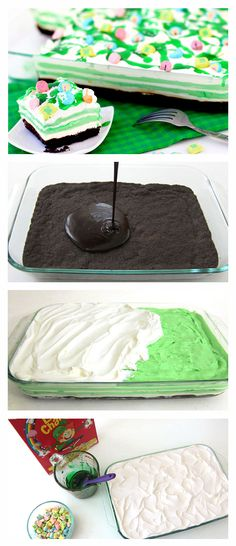 Shamrock Shake Cheesecake. If you're a big fan of shamrock shakes, you are going to love this fun spin on the traditional sweet treat. Layers of crème de menthe pudding, cream cheese fluff, and whipped cream are drizzled with crème de menthe and chocolate syrup.