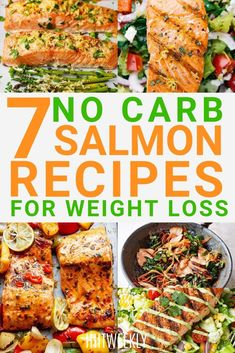 If you love salmon then you need to check out these delicious no carb salmon recipes for lunch and dinner. 7 Low Carb Clean Eating Salmon Recipes To Help You Lose Weight Faster. Salmon Recipes For Weight Loss. No Carb Recipes, Fish Recipes, Lunch Recipes, Clean Eating Recipes, Smoothie Recipes, Weight Loss Meals, Clean Eating Salmon, Healthy Salmon Recipes, Pescatarian Recipes
