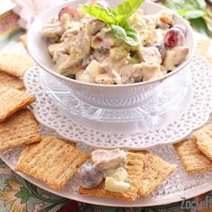 This Chicken Salad for one is packed with flavor and crunch. Filled with crunchy pecans, sweet grapes and other amazing flavors. Easily made with poached chicken or the perfect recipe to use rotisserie chicken in. A wonderful single serving recipe.