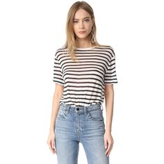 T by Alexander Wang Stripe Cropped Tee ($110) ❤ liked on Polyvore featuring tops, t-shirts, ink and ivory, striped t shirt, crew neck t shirt, short sleeve crop top, striped tees and stripe t shirt