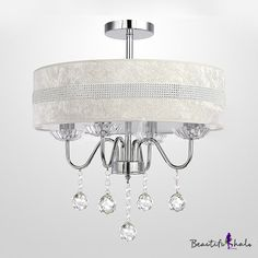 $120.99  Hanging Stunning Clear Crystal Balls 4-Light Chandelier Ceiling Lights. Beige/white/cream.