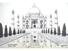 taj mahal pen and ink drawing by frederic kohli of the taj mahal temple in
