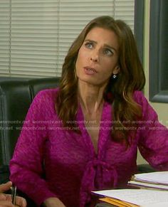 b2eb59de53df Hope s pink textured tie-neck blouse on Days of our Lives. Outfit Details