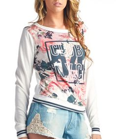 Look what I found on #zulily! Off-White & Pink 'Club N.Y.C' Top by Charlie Charlie #zulilyfinds