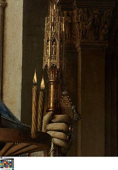 Virgin and Child with Canon van der Paele, Jan van Eyck 1434-1436 - detail.