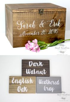 Rustic wedding card box holder. I like this one because you can get a lock to secure it and it's sturdy. Plus it's personalized. If you want the paint to match your wedding colors instead of white she'll do that, too (I like how the white looks, though).