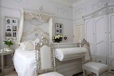 Swedish interior design ! Very romantic  bedroom ! beautiful furniture...follow pins on this site!
