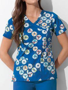 Youtility Mock Wrap Print Top  #Youtility #Mock #Wrap #Print #Top Nursing Uniforms, Womens Scrubs, Caregiver, Work Attire, Floral Tops, Unisex, Fashion, Moda, Fashion Styles