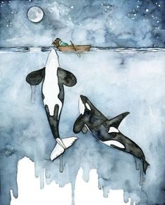 orca painting watercolor painting whale painting orca and etsy Whale Painting, Watercolor Whale, Easy Watercolor, Artist Painting, Artist Art, Painting Abstract, Abstract Watercolor, Watercolour Painting, Art And Illustration