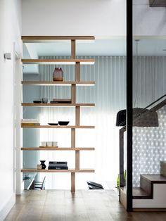 Luigi Rosselli Architects | Hill Top Cottage | American Oak flooring and custom designed bookshelf | © Justin Alexander