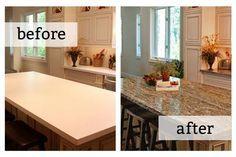 DIY granite countertops. Not really granite. Amazing! Source: DIY Network