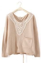 Beige Long Sleeve Lace Drawstring Pocket Sweater $29 #SheInside