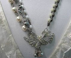 Assemblage Necklace, Vintage Rhinestone Bow, Rosary Necklace, Gray & Cream Upcycled Pearls, Vintage Rosary Assemblage, Upcycled Jewelry