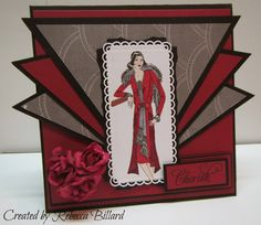 Just wanted to share with you a Art Deco Card that I made. I am not really into making these sor. Art Deco Cards, Lace Art, Shaped Cards, Art Deco Wedding, Handmade Birthday Cards, Card Maker, Art Deco Design, Vintage Cards, Retro