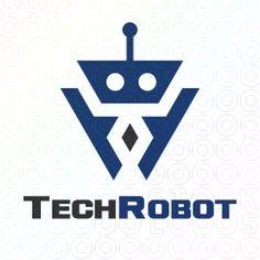 Exclusive Customizable Robot Logo For Sale: Tech Robot   StockLogos.com